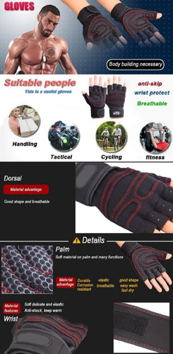 guantes deportivos para gimnasio, gym, ciclismo, pesas.