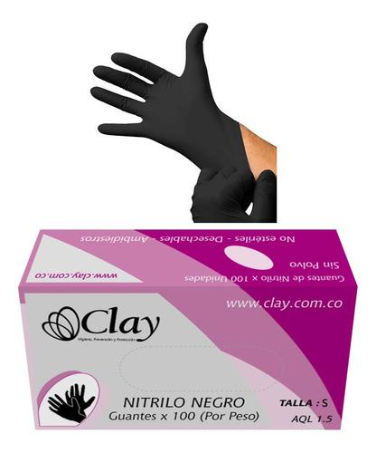 guantes desechables en nitrilo negro talla s cj.x 100 unid.