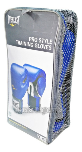 guantes everlast pro style negro azul 12 14 16 oz original