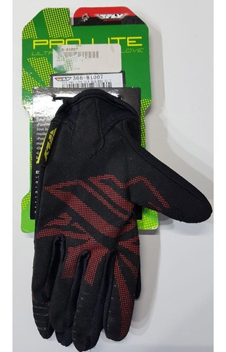 guantes fly pro lite - black / red - talle xs / powertech