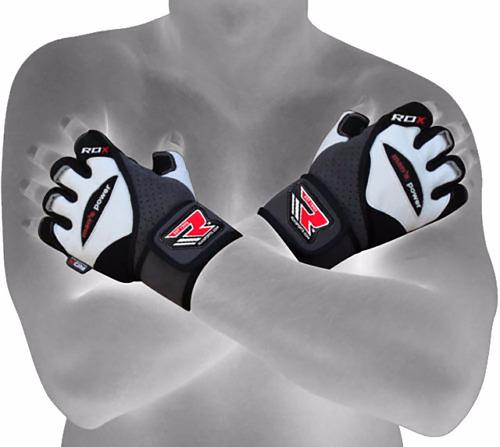 guantes gimnasio pesas - rdx - cuero blanco