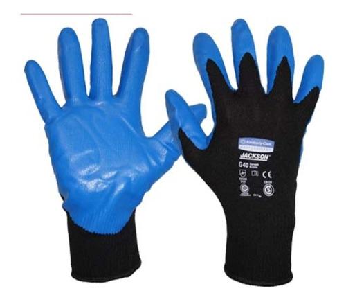 guantes jackson g40 nitrilo azul (12 pares) - talle 9