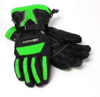 guantes katahdin vertex cuero negro/verde 4xl