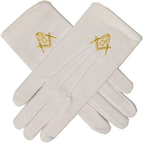 guantes masónicos con plaza de oro y el compás envío gratis