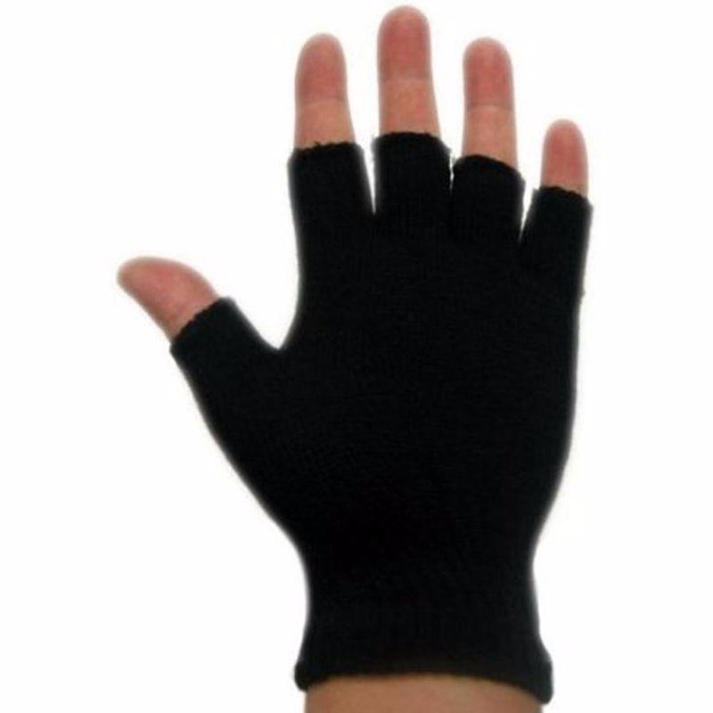 guantes medio dedo para hombre frío de punto color negro ! Cargando zoom. 19ec00f432f