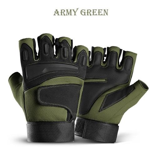 guantes medio dedo proteccion airsoft tacticos motos talla l