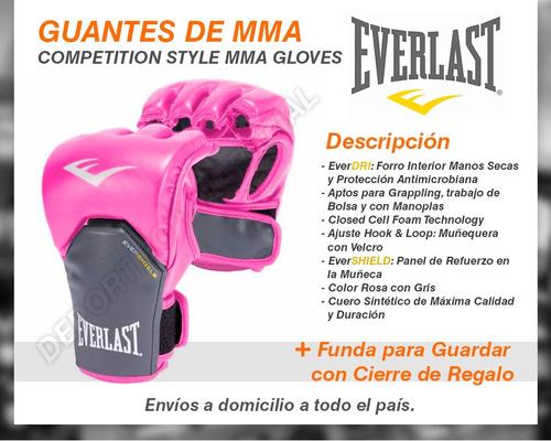 guantes mma everlast rosa guantines combate bolsa grappling