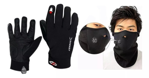 guantes moto impermeables termicos tactil + mascara neoprene