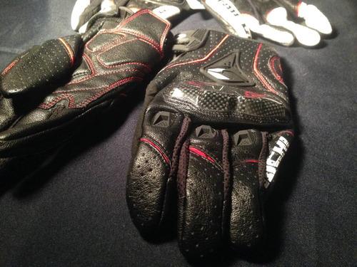 guantes moto taichi - cuero y fibra de carbono