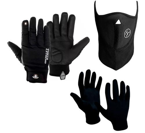 guantes p extremo neoprene + primera piel + mascara sti moto