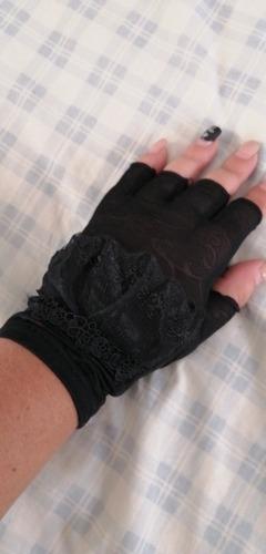 guantes para manejar, mujer cubren del sol negros.
