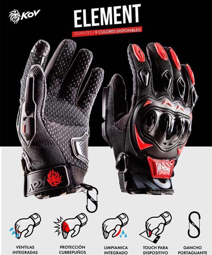 guantes para motociclista kov touch screen con holder y limpiamicas