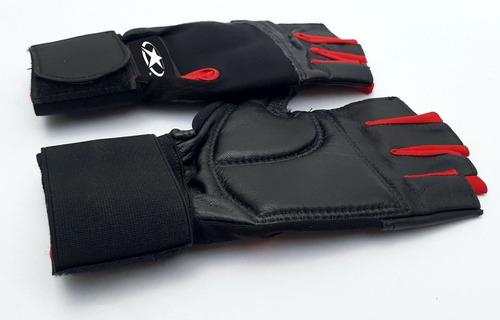 guantes para pesas gimnasio 100% cuero con muñequera