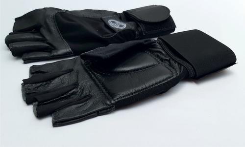 guantes para pesas gimnasio 100% cuero con muñequera hombre