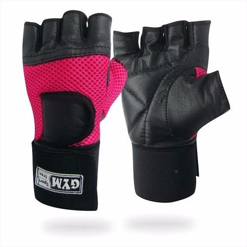 guantes para pesas gimnasio gym deporte con muñequera mujer