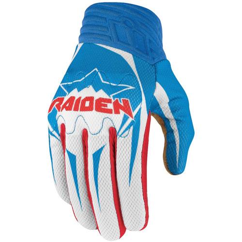 guantes p/hombre arakis raiden, ícono, rojo/blanco/azul sm