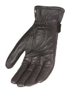 guantes power trip jet black mujer cuero negro xs forrado