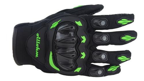 guantes profesionales motociclista motocross m negro verde