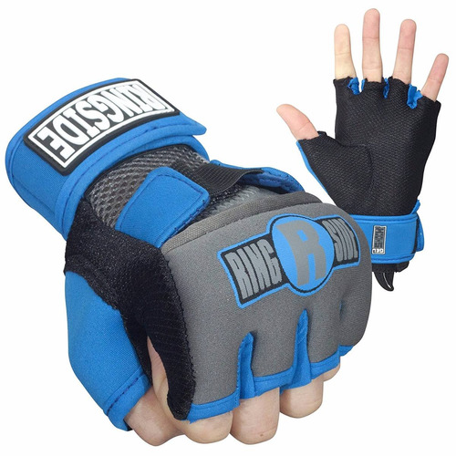 guantes protectores kickboxing ringside gel azul/blanco m