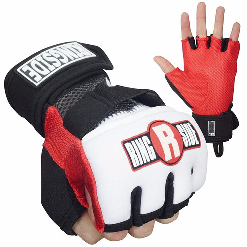 guantes protectores kickboxing ringside gel rojo/negro m