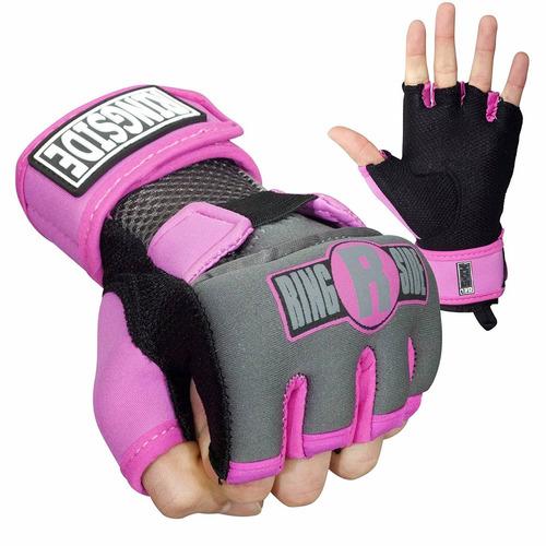 guantes protectores kickboxing ringside gel rosa/negro xl