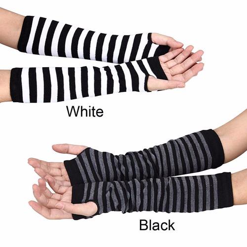 guantes sin dedos rayados negro & blanco_gótico_cosplay_punk
