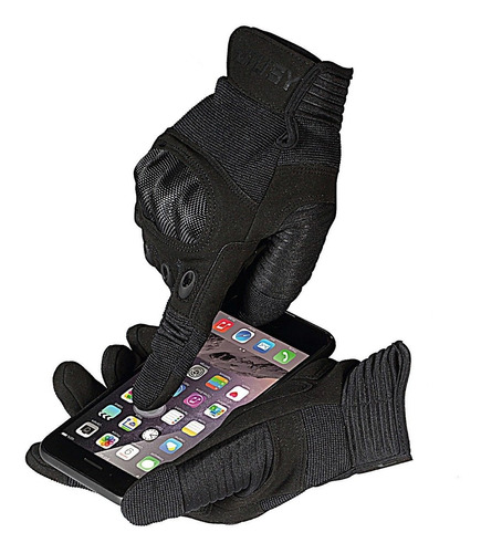guantes tacticos moto militares bici dedo completo 100%