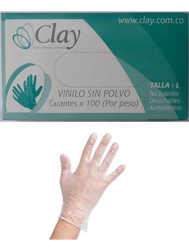 guantes vinilo sin polvo talla l cjx100unid. bioseguridad