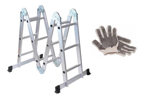guantes y escalera articulada de aluminio 4x3