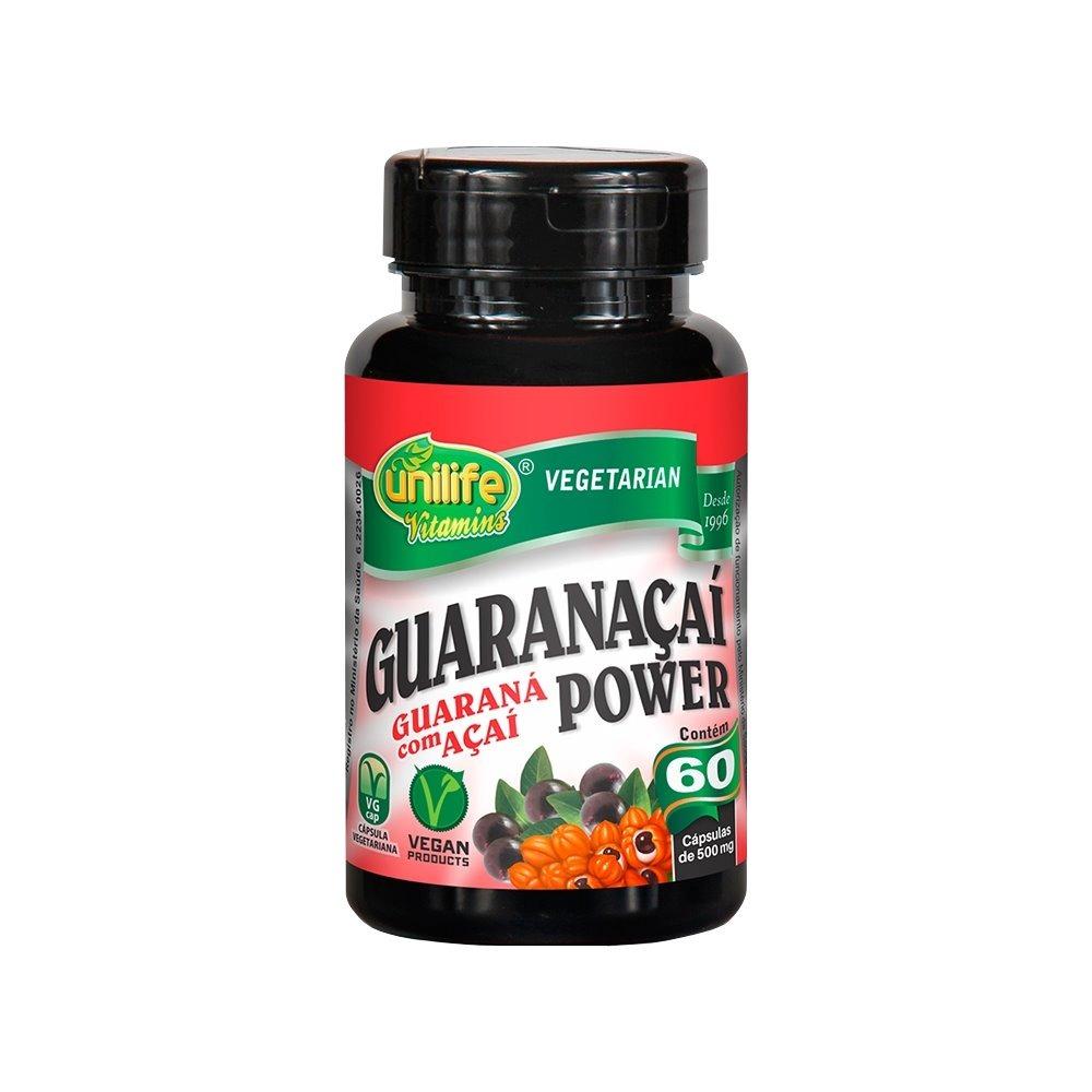 Guaranaçaí Power Guaraná com Açai 60 Cápsulas 500mg Unilife