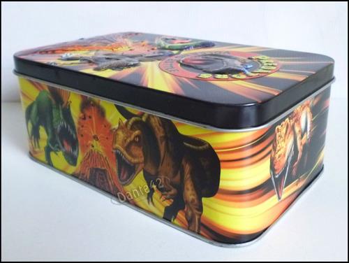 guarda carta caja de lata dinosaurios + sobre + llavero