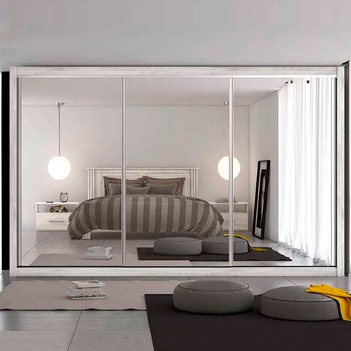 guarda-roupa 3 portas espelhadas 100%mdf toronto europa