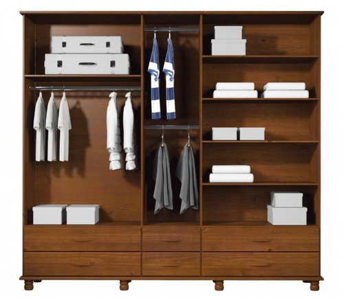 guarda roupa - 5 portas - 6 gavetas - madeira maciça