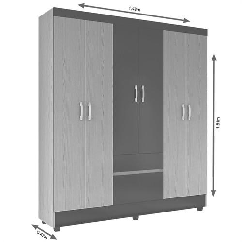 guarda-roupa 6 portas 2 gavetas - demóbile flash 62960