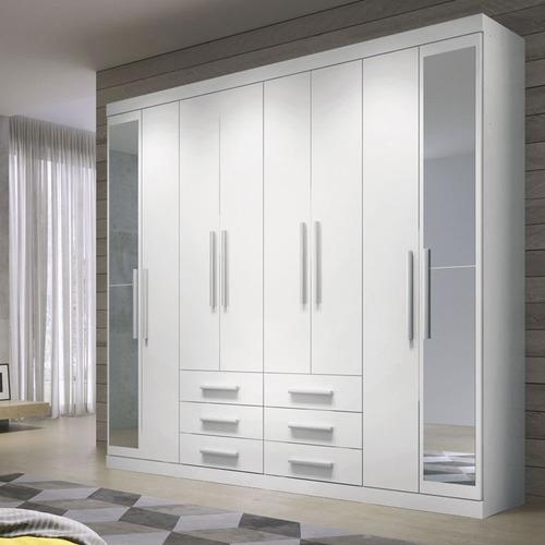 guarda-roupa 8 portas 6 gavetas c/ espelho havana master 8.6