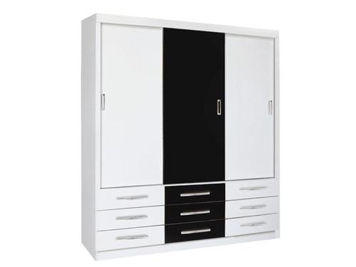 guarda roupa cairo 3 portas com 9 gavetas - branco e preto