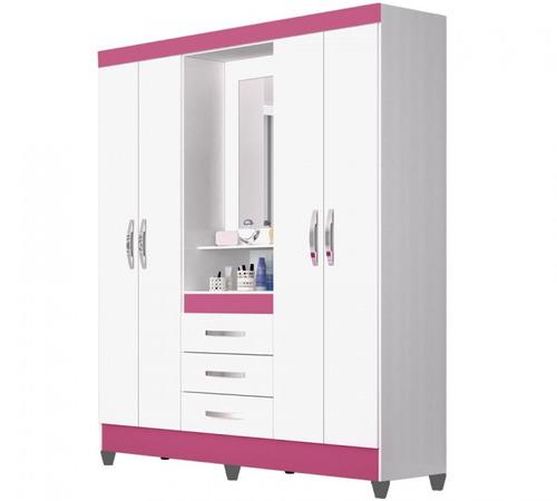 guarda roupa capri branco rosa branco moval 165 cm