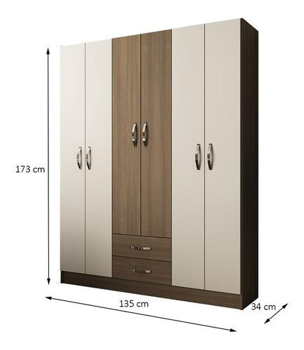 guarda-roupa casal 6 portas ilumi per/branco - pnr móveis