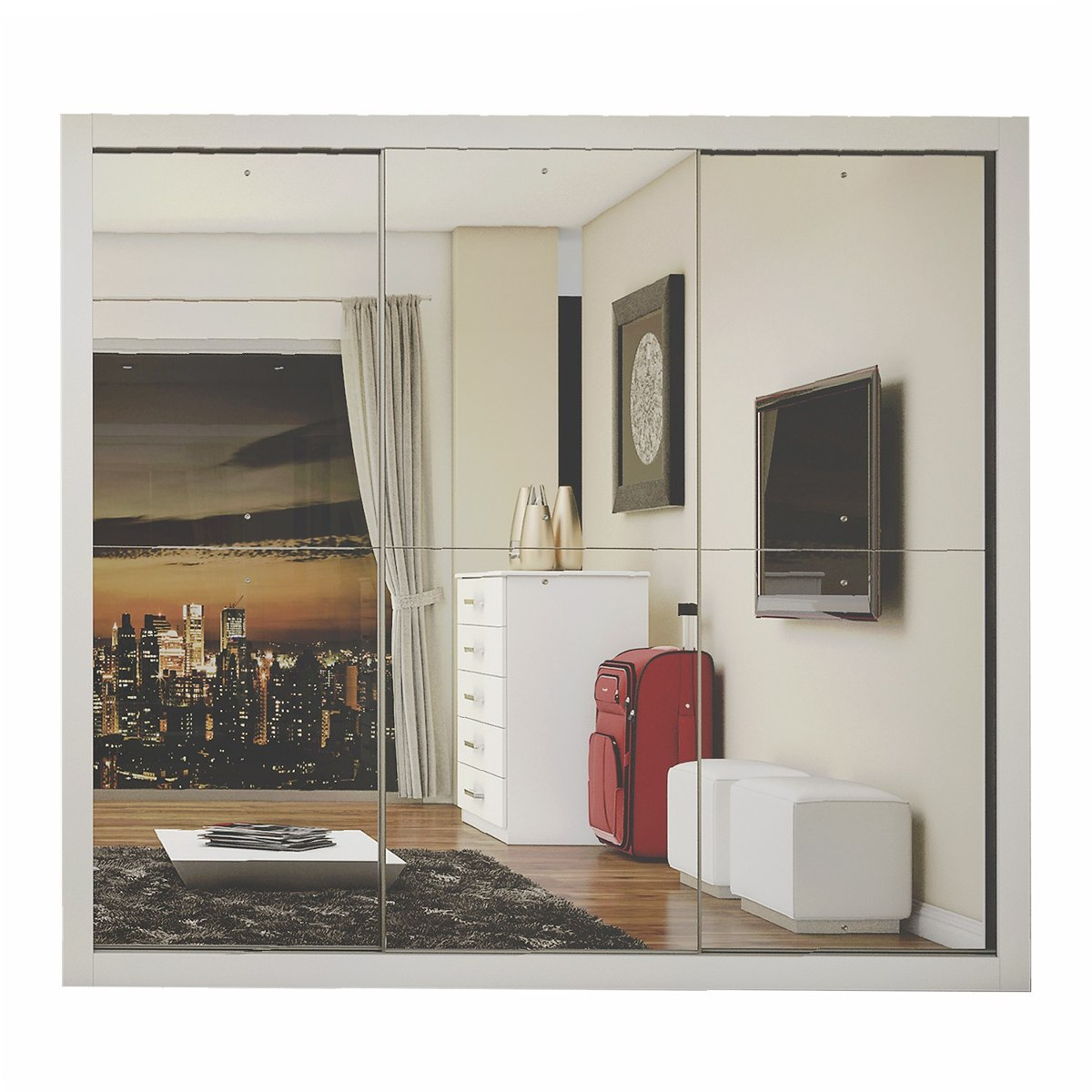 Guarda Roupa Casal Com Espelho 3 Portas De Correr Gd R