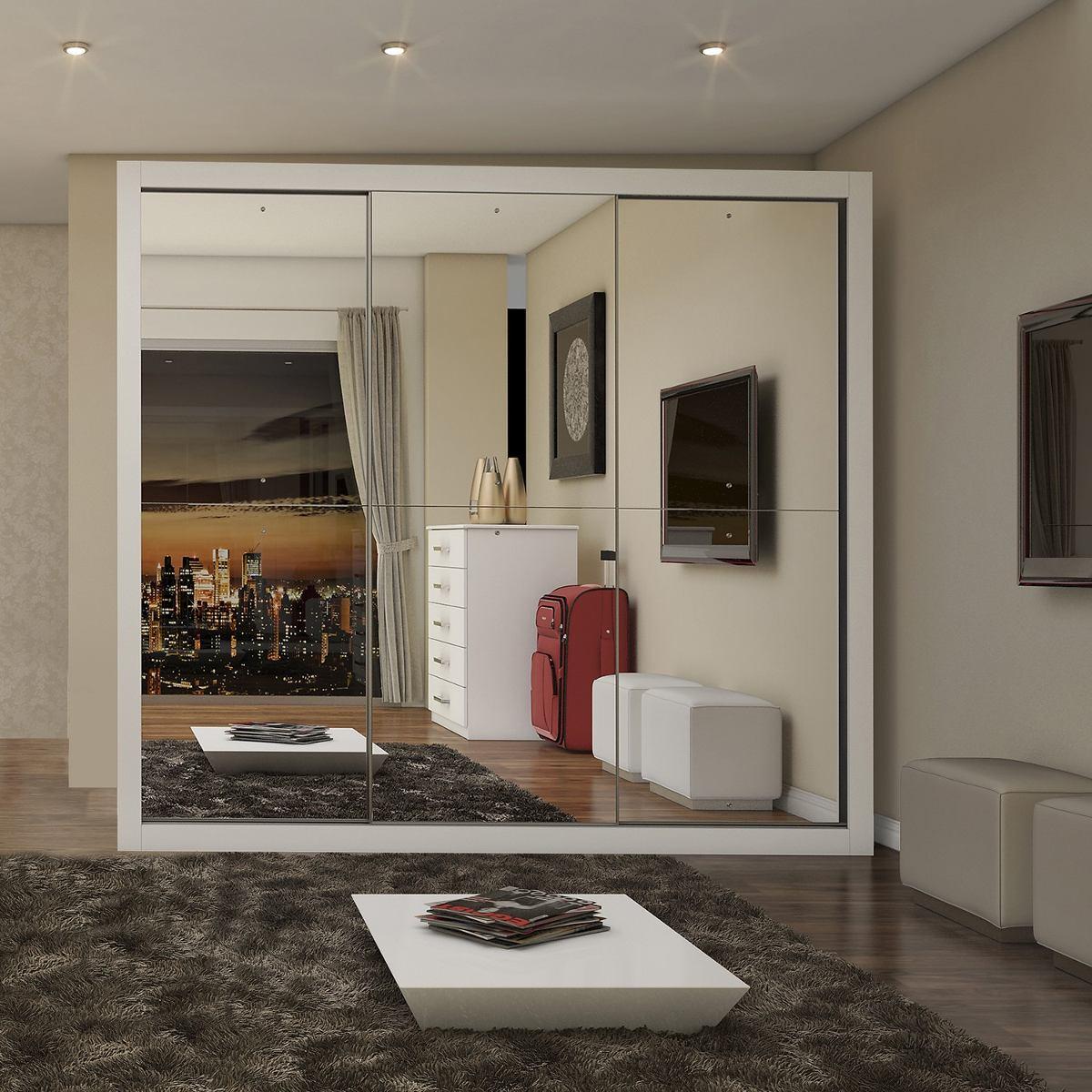 Guarda Roupa Casal Com Espelho 3 Portas De Correr Gd R 869 90