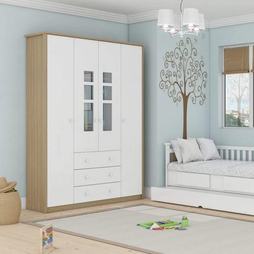 guarda roupa de bebê 4 portas 3 gavetas rafa móveis fe