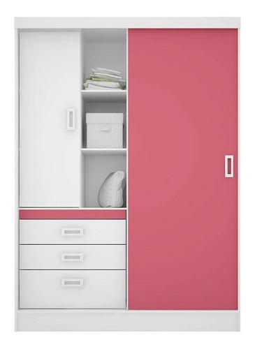 guarda roupa infantil slim branco brilho rosa flex demóbile