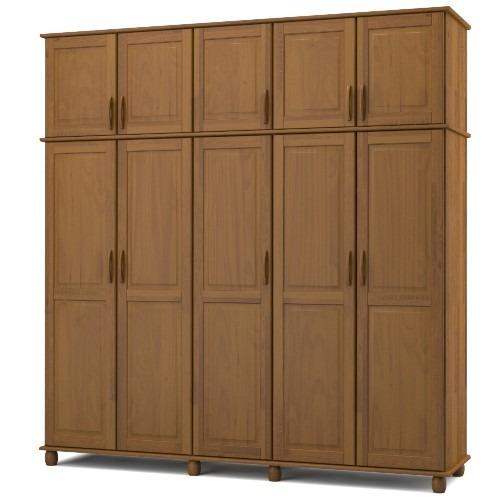 guarda-roupa madeira maciça kitimar 5 portas - tabaco coloni
