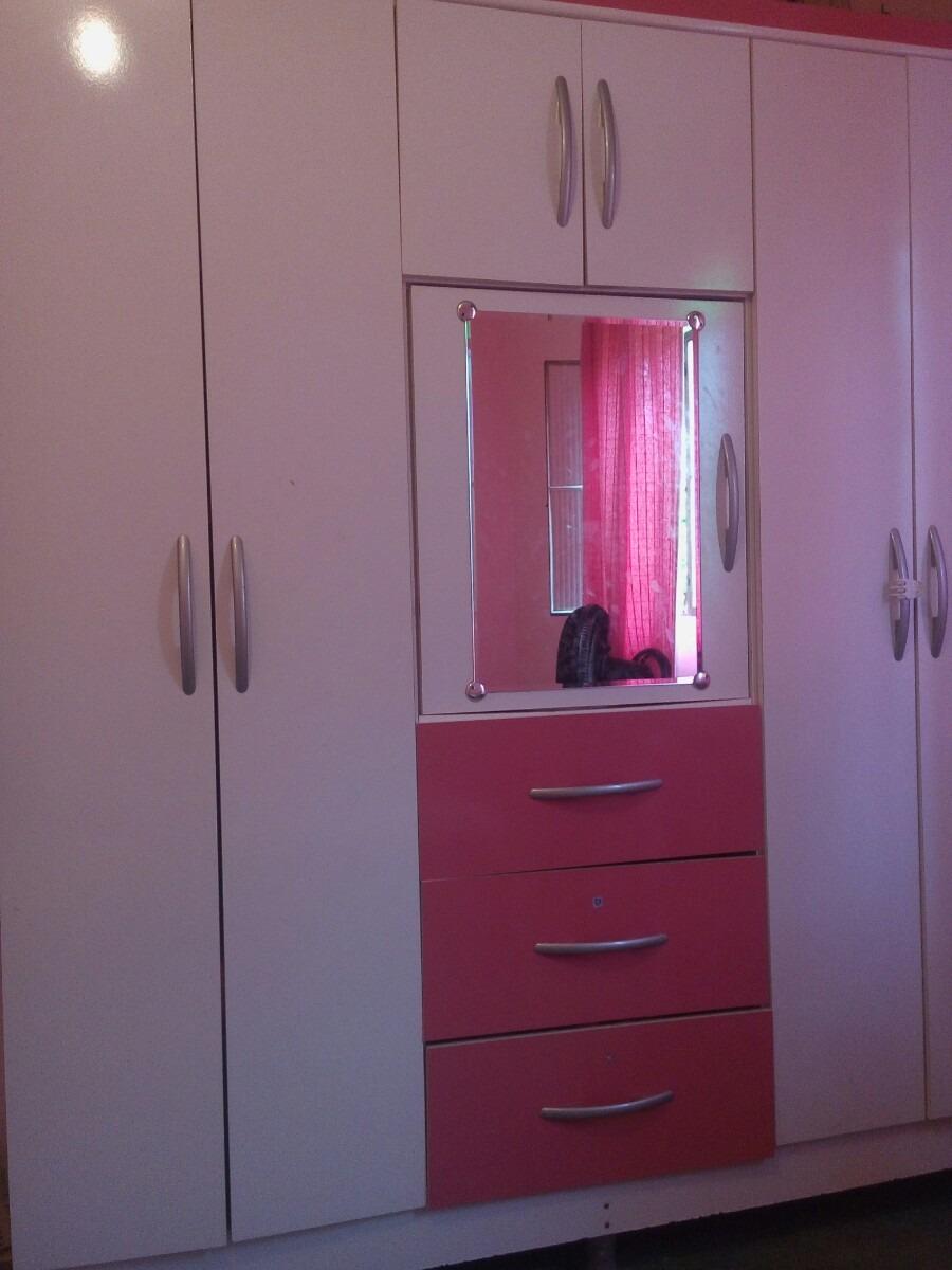 Guarda Roupa Rosa ~ Guarda Roupa Rosa E Branco Com Espelho R$ 1 300,00 em Mercado Livre