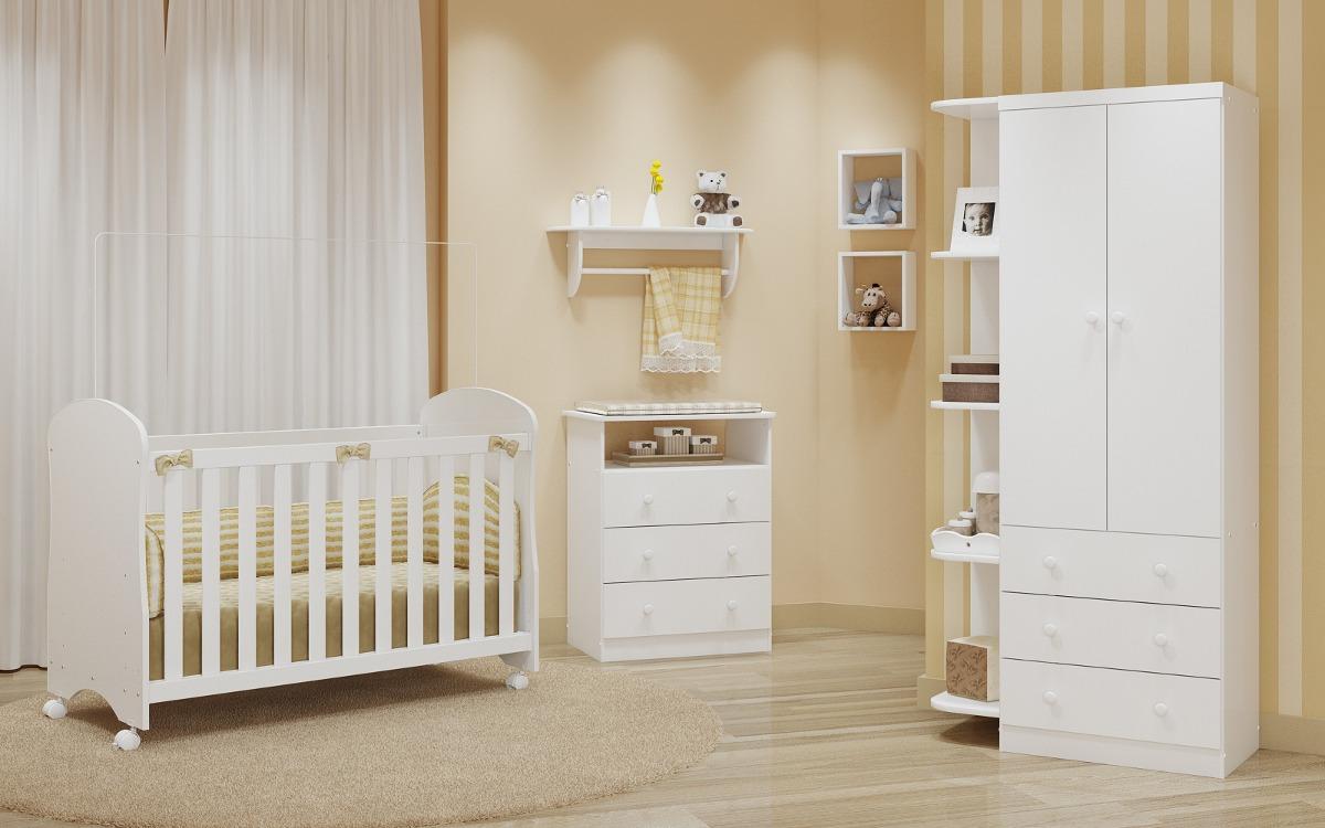 Guarda Roupa Sm 4 Prateleiras 3 Gavetas Branco Bebe Pequeno R  ~ Prateleiras P Quarto E Quarto Do Bebe Pequeno
