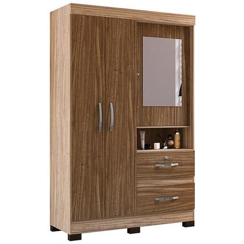 guarda roupa solteiro 3 portas e espelho urânio riviera/malb