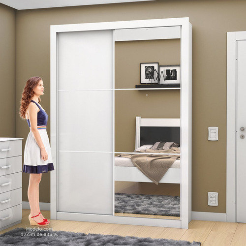 guarda roupa solteiro com espelho 2 portas de correr jjwt