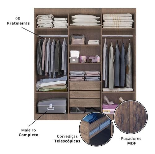 guarda roupas zurique 6 portas e 3 gavetas - castanho