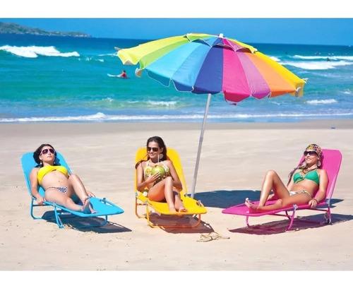 guarda sol articulável gigante 2,2m azul fps 100 praia mor