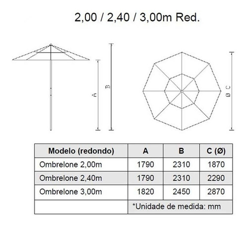 guarda-sol de madeira c/ lona  de bagum  3 m diam.=frete gra